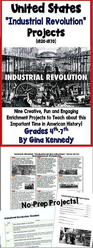 Nine fun and creative Industrial Revolution writing and research projects. From thinking about a world without Thomas Edison to writing from a child worker's point of view to creating factory worker ads, your students will gain a better understanding of this important time in history.  A print and go rubric and Industrial Revolution timeline is included. No-Prep, Just Print and Go!$