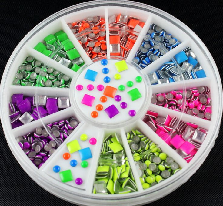 6 Neon Colors Plating Sharp Square Round Alloy Nail Art Stickers Tips Glitter Fashion Nail Tools DIY Decoration Stamping