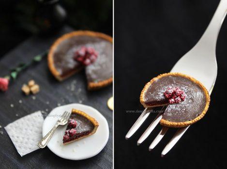 Miniature 'Chocolate tart with raspberries' - 2 by thinkpastel
