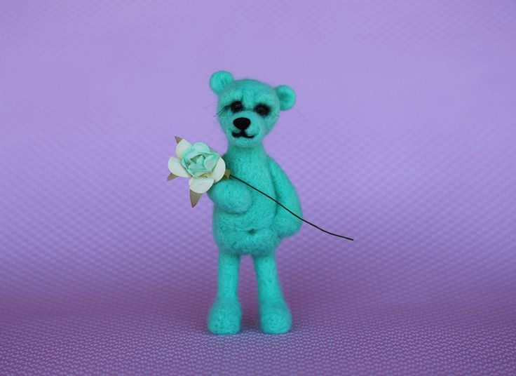 Needle felted animals. Small bear with gift box. Miniature animals. Interiors toy. by donidinadya on Etsy