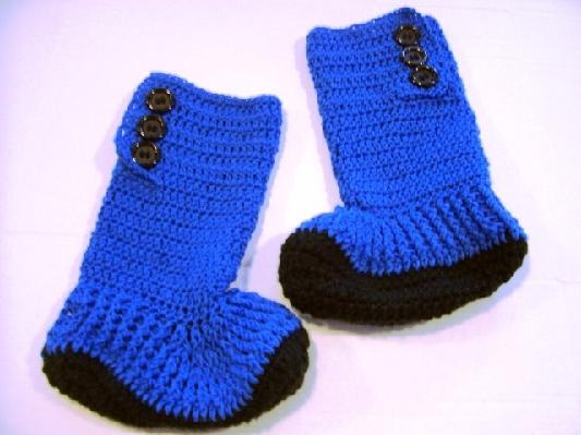 Crocheted Blue Hightop Slipper Boots for Teens and Adults