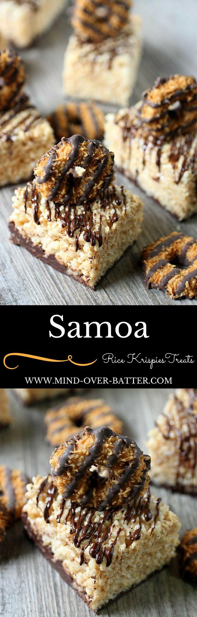 Samoa Rice Krispies Treats - www.mind-over-batter.com