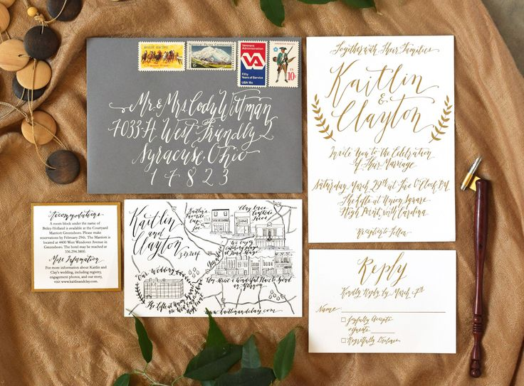 Whimsical wedding suite - gold foil, white ink, and a wedding map. The black and white components were printed on the cheap at FedEx!