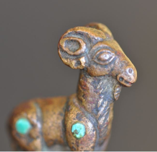 Bactrian bronze pin with deer with stones, 2000-1500 B.C. Afghanistan, Bactria Margiana bronze deer with stones, 5.7 cm high. Private collection