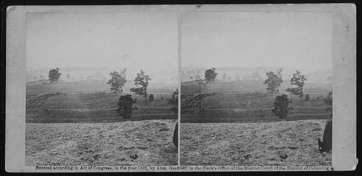 "Antietam, September 17, 1862: ""Only photograph of an actual battle in progress taken during the Civil War!"""