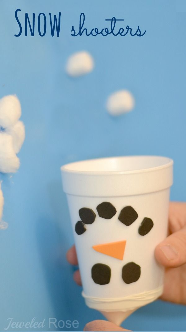 Snow Shooters- an easy to make toy for kids and a great boredom buster for Winter.  My kids have asked to play with these everyday since we made them!