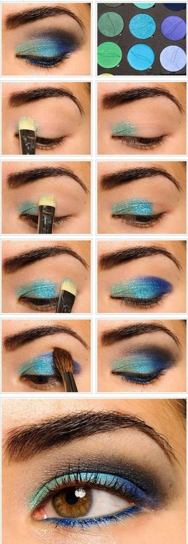 Maquillage bleu pailleté. 15 tutos de maquillages pour les yeux que vous allez adorer
