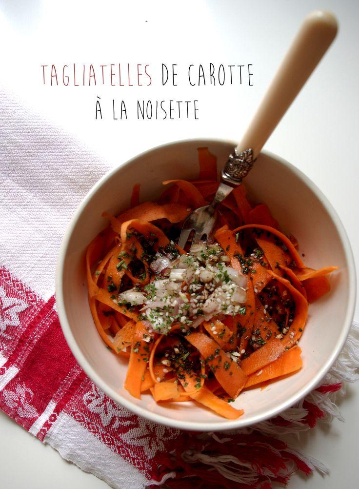 Tagliatelles de carotte à la noisette. La recette ici : http://journalduneame.fr/tagliatelles-de-carotte-a-la-noisette/