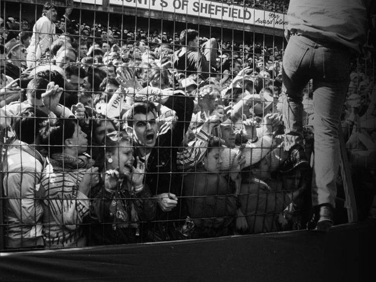 Liverpool supporters at a 1989 FA Cup semi-final in what would later be known as the Hillsborough Disaster, where 96 fans were killed - 15th April, 1989
