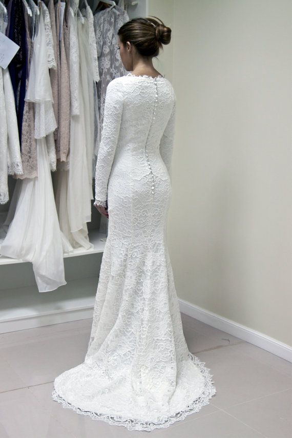 French Lace Wedding Gown with Lined Sleeves and Scalloped Neckline
