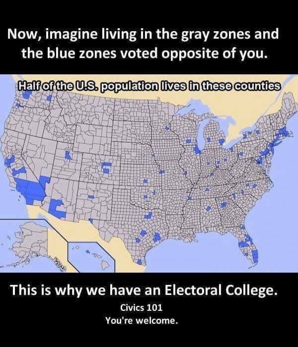 One person =one vote. You figured out the last two repubs got in ONLY because of the electoral college hunh. Maybe there's a reason.