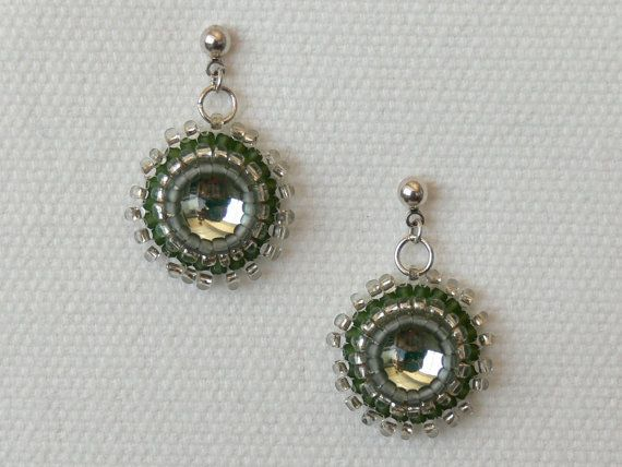 Mirror earrings   domed cabochon   with green and by Evesbeads, $50.00