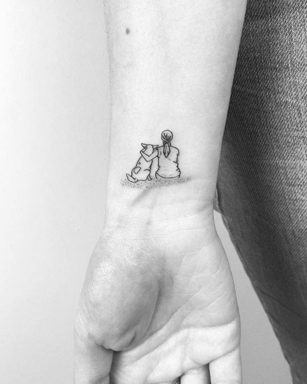 small tattoos man and dog – great