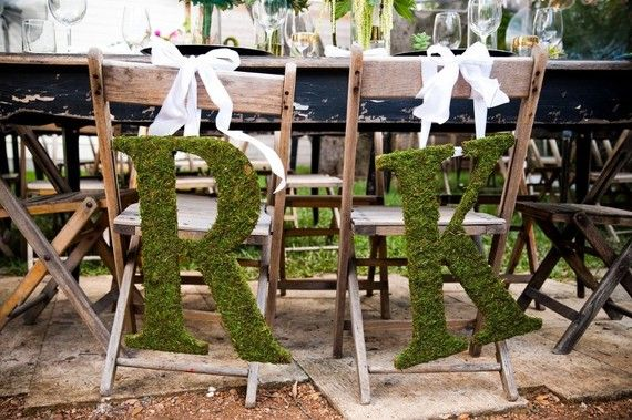 Gorgeous moss covered initials