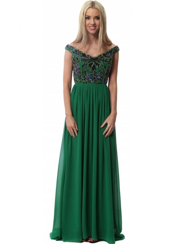 4b78f099315 Virgos Lounge Off The Shoulder Green Gracie Maxi Dress