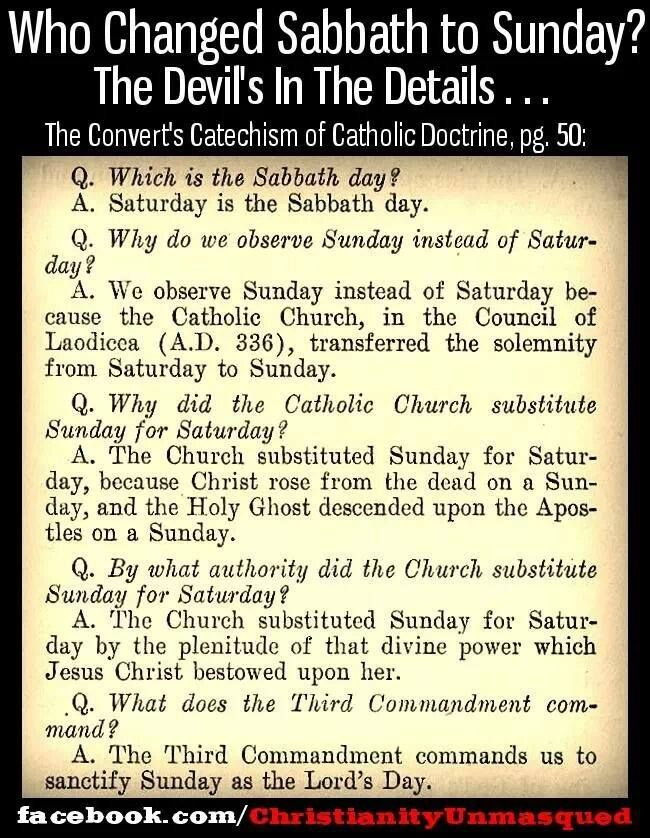 Who changed Sabbath to Sunday? THE ROMAN CATHOLIC EXPLAINATION WHY THE DAY WAS CHANGED.