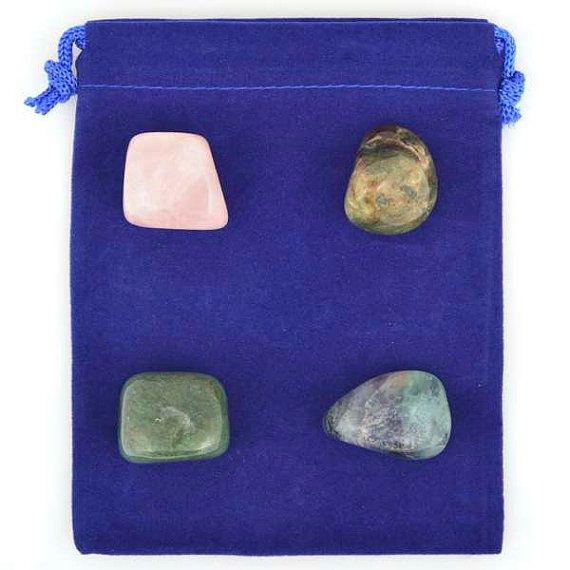 This listing is for one Stress Relief Healing Stone Set, as shown above.    Need to de-stress your life? We've hand selected four stones (Rose Quartz, Bloodstone, Aventurine and Fluorite) that will help support your healing. You can carry/use your stones together or separately.    Individual stone properties are listed below.    Rose Quartz: Aids in relieving tension and stress    Bloodstone: Helps with stress and anxiety    Aventurine: All around healer bringing emotional calm    Fluorite…