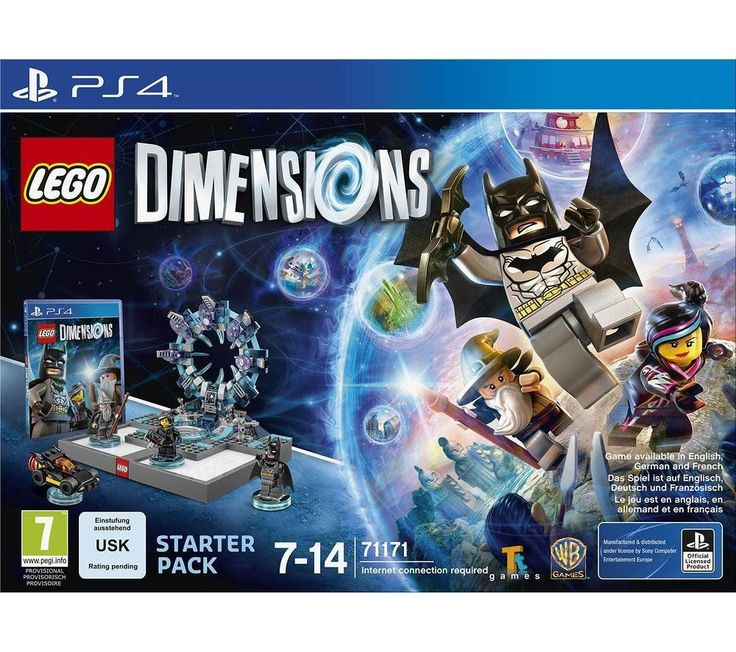 LEGO DIMENSIONS  Starter Pack - for PS4 Price: £ 59.97 All your favourite LEGO characters come together in one universe to defeat evil with the LEGO Dimensions Starter Pack , specially designed for PS4. Enter a new dimension With LEGO Dimensions you'll enter a planet in the centre of the LEGO Multiverse where evil mastermind Lord Vortech has a grand scheme to take power of the Foundational...