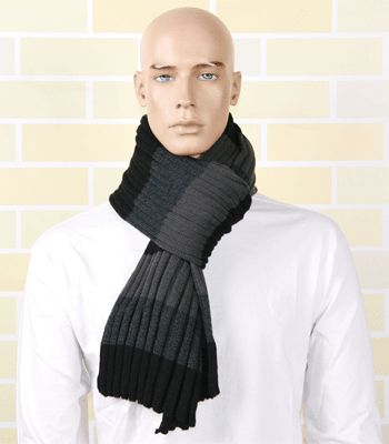 Gestreepte sjaal grijs/zwart