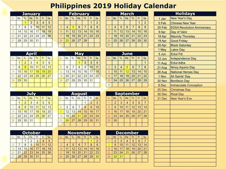 philippines 2019 calendar with holidays in 2020