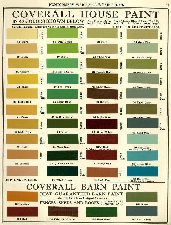 exterior paint chart. maintenance paint color chart note colors