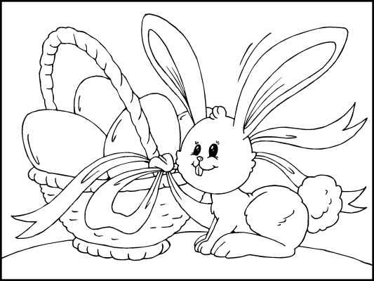 Easter coloring pages bunny and easter basket