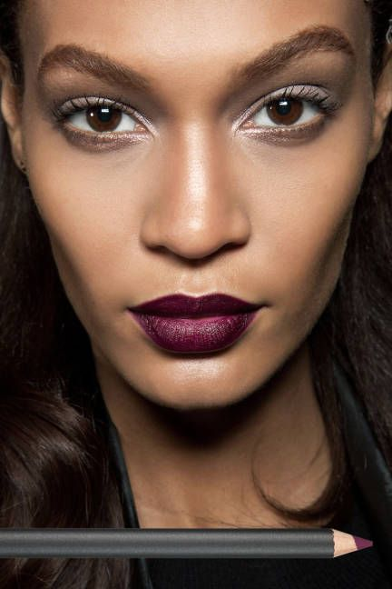 Most Popular: Bordeaux Lips  McGrath lined and filled in pouts with M.A.C Pro Longwear Absolutely It Lip Pencil