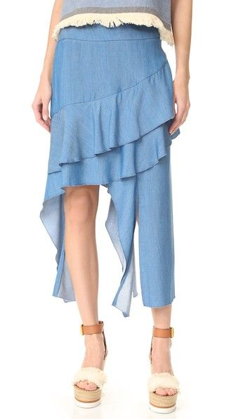 Jonathan Simkhai Ниспадающая юбка из струящейся ткани шамбре