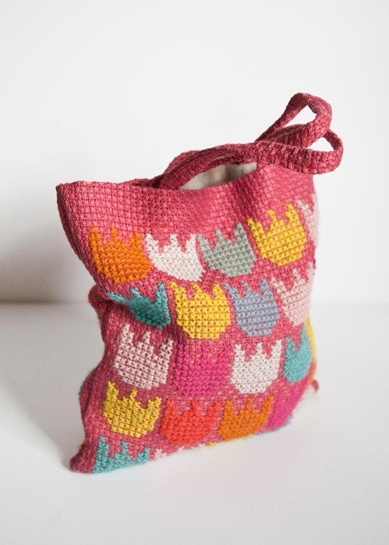 Handmade Embroidered Wool Tote. Pastel colors, Tulip Motif. On Etsy - FineLitttleDay.