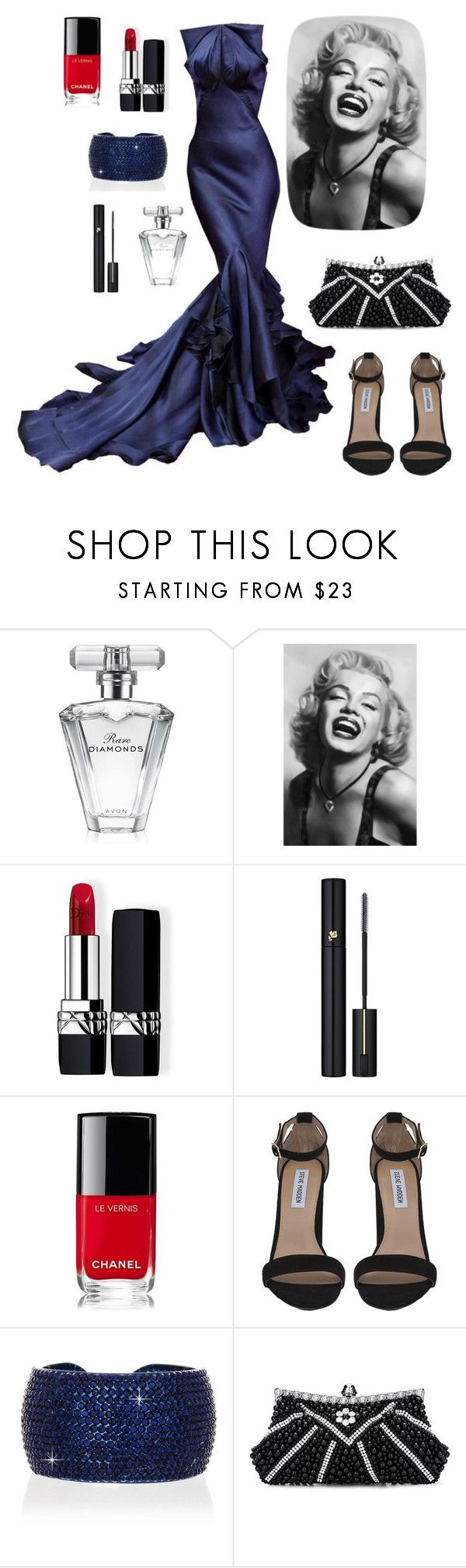 """Old Hollywood Style # 17"" by sunshine24-7-1 ❤ liked on Polyvore featuring Zac Posen, Avon, Brewster Home Fashions, Christian Dior, Lancôme, Chanel, Steve Madden and Vanity Her"