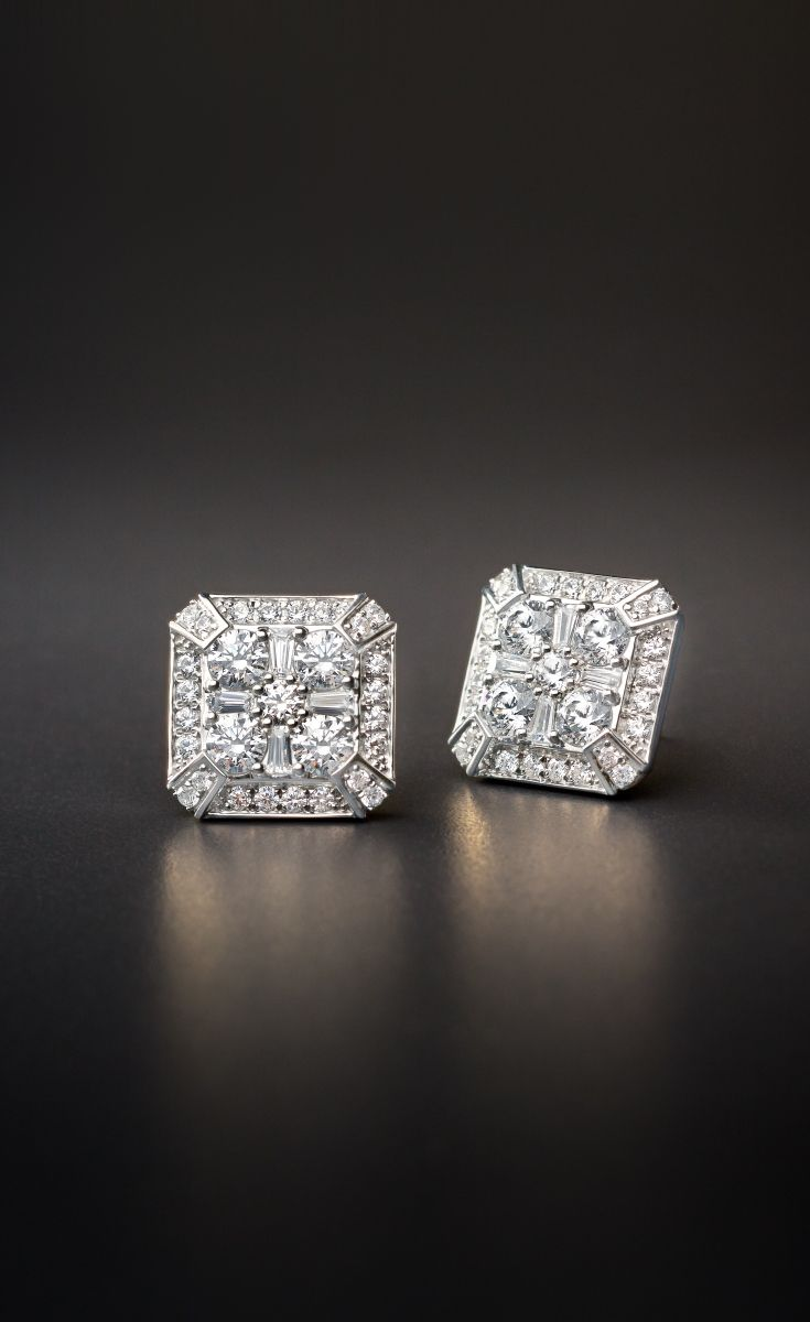 ZAC Zac Posen Diamond Earring in 18k White Gold | Indulge in the chic style of these diamonds stud earrings exclusively at @BlueNile