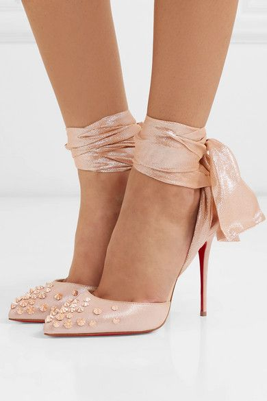 545f1840b3 Christian Louboutin | Drama Douce 100 chiffon-trimmed spiked glittered  suede pumps | NET-A-PORTER.COM