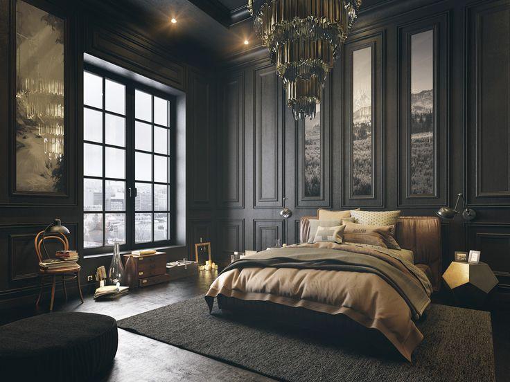 Interior Design Black black bedroom on behance | render | pinterest | black bedrooms