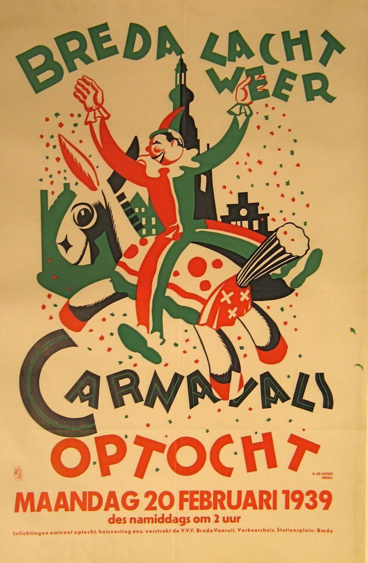 Dat Carnaval in Breda oeps sorry: 'T Kielegat, al oud is wisten we. Maar dat zelfs in 1939 al mooie affiches voor de grote optocht werden gemaakt......