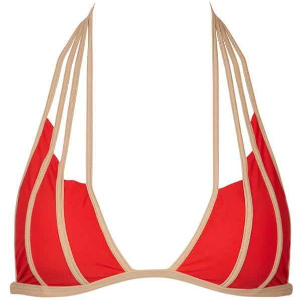 Lucia bikini top (788.895 COP) ❤ liked on Polyvore featuring swimwear, bikinis, bikini tops, swim suit tops, cutout bikini top, cut-out bikinis, strappy swimsuit top and gold bikini top