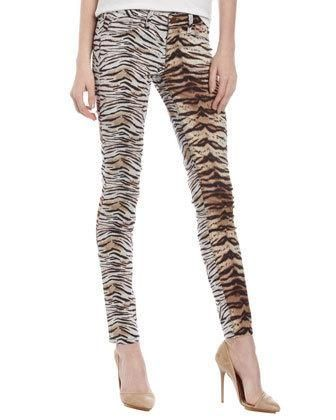 fade to blue tiger print #jeans
