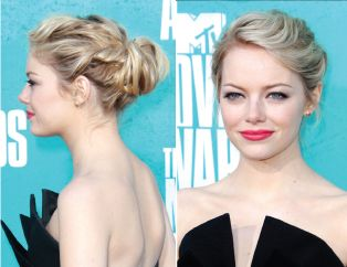 emma stone updo tutorial Love this look with twisted sections rolled into her bun