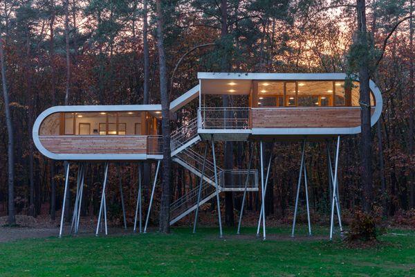 Ein Baumhaus als Konferenzraum, der passende Ort um sich mit Umweltfragen zu beschäftigen. Foto: © baumraum