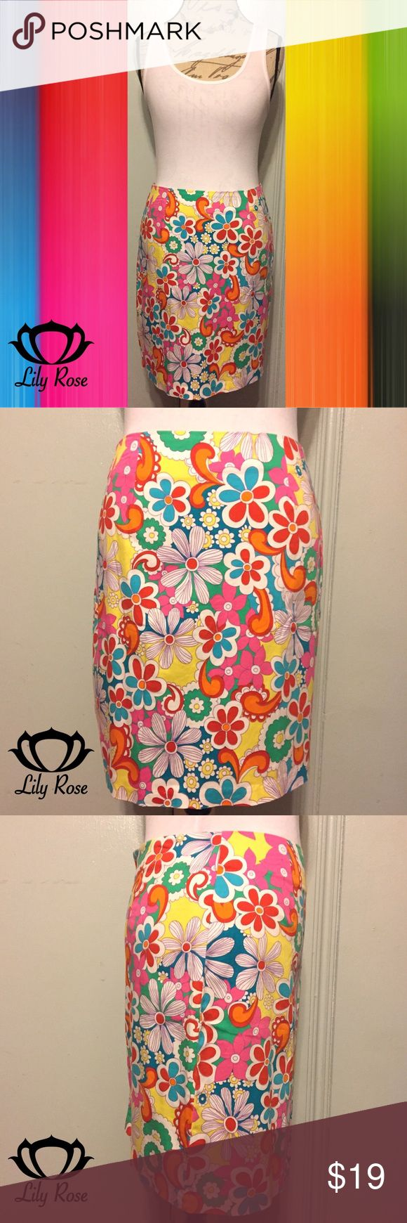 "LILY ROSE Vintage Multi-Color Flower Pencil Skirt SIZE M. 18.5"" Length. 14.5"" Waist. Bright Vibrant Candy Red, Tiger Orange, Cerulean & Ocean Blues, Honey Yellow, Emerald Green, White & Punch Pink Colors. Back Zipper. 97% Cotton/3% Lycra Blend. EUC WORN ONCE Lily Rose Skirts Pencil"
