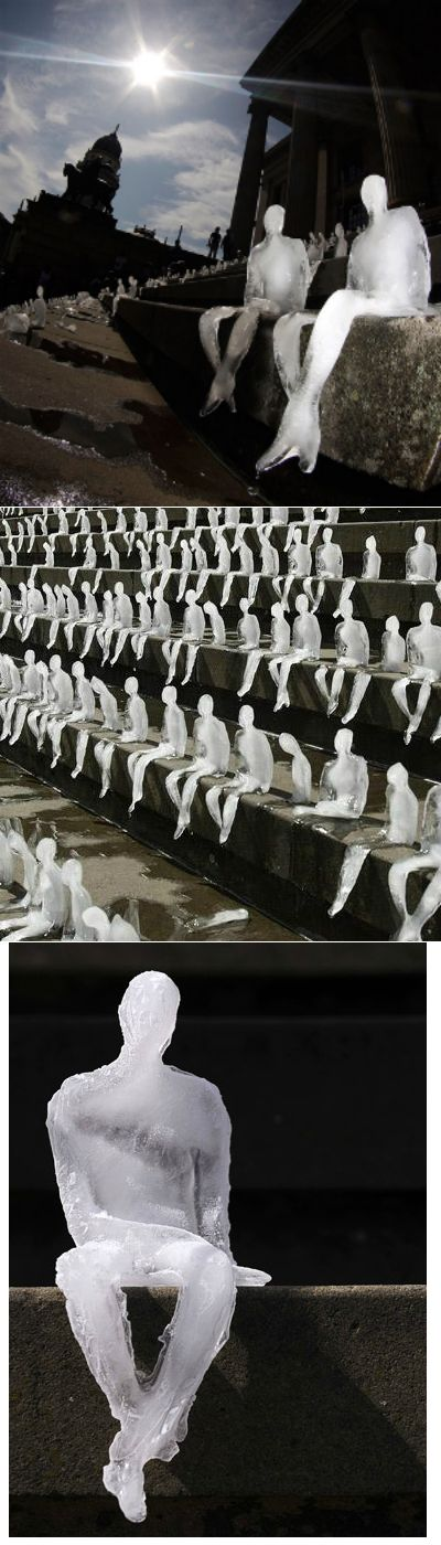 Melting Men by Brazilian artist Nele Azevedo, Berlin. This amazing installation of 1,000 melting figures was done in collaboration with the WWF to highlight global warming and bring awareness on the rapid loss of ice worldwide. Watch the video: https://www.youtube.com/watch?v=TM9iSZVlRxc