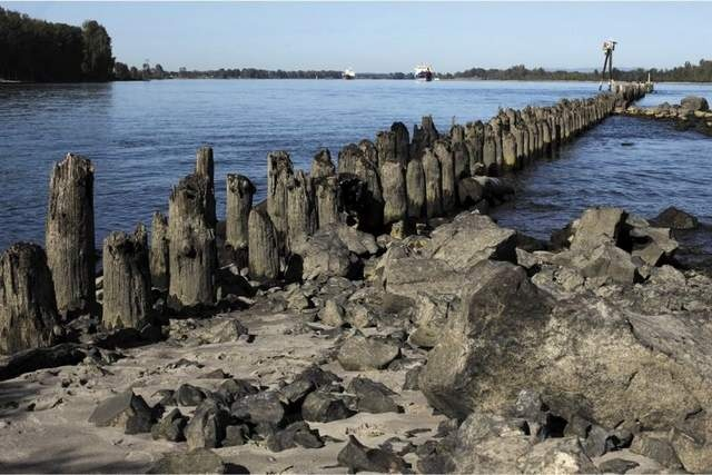 """Where the Rivers Collide: Park offers look at the confluence of Willamette, Columbia rivers -- Kelley Point Park [in Portland, OR] is the confluence of the Willamette and Columbia Rivers. / Thomas Patterson 