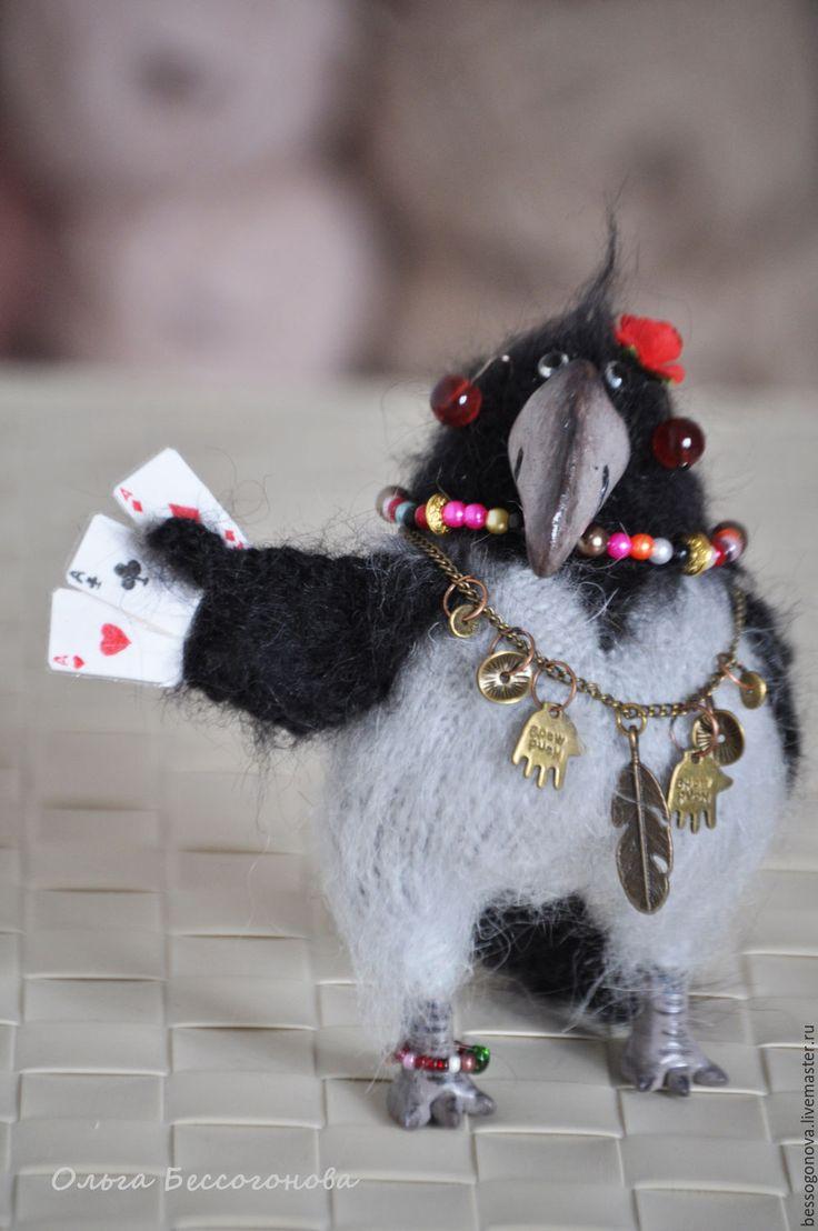 Купить ворона КАРма вязаная - ворона, ворон, игрушка ворона, цыганка, птица, птица счастья