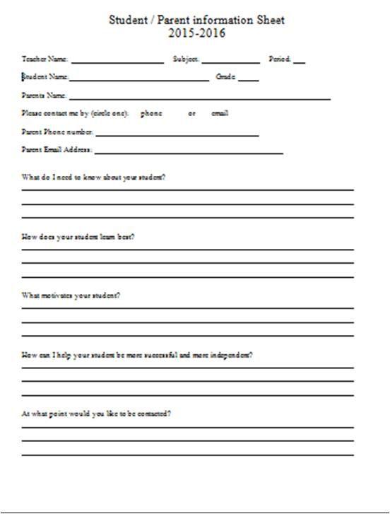 Best 25+ Parent contact form ideas on Pinterest Parent contact - contact information form