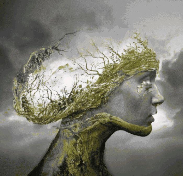 Un perfil de una mujer definido con vegetales que se van moviendo