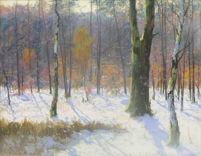 Michał Gorstkin Wywiórski - Zimowy las, 1905 r.