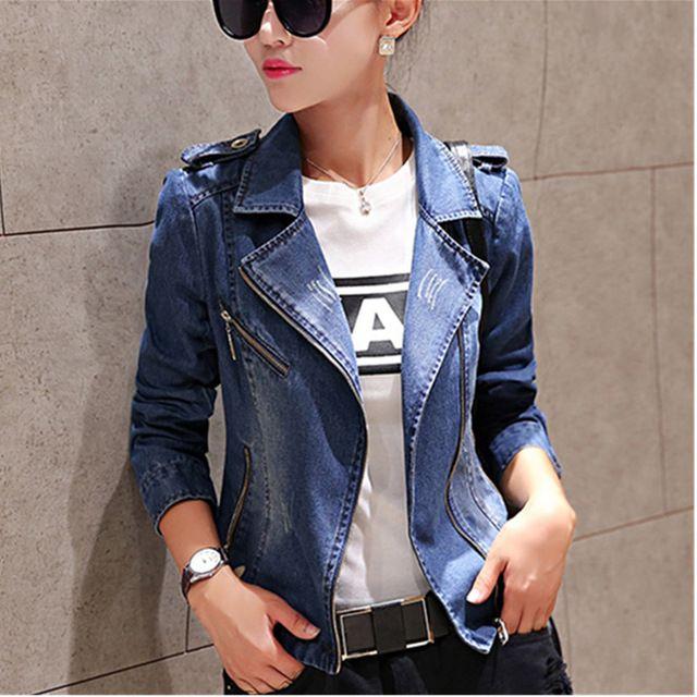 Mujeres 2016 primavera nueva moda de manga larga Slim Jeans chaqueta para mujer ocasional del todo fósforo cremallera blanqueada chaquetas de mezclilla escudo