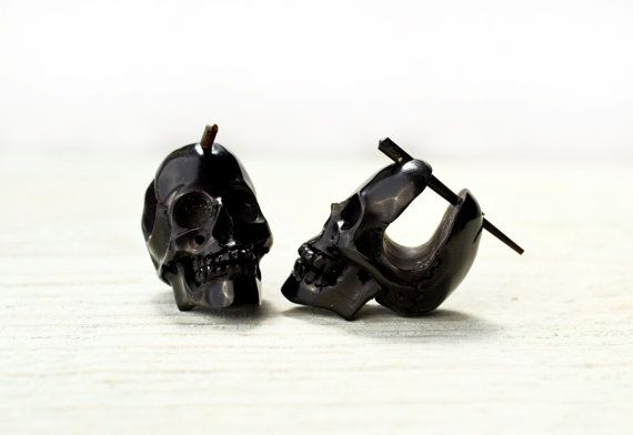 Skull Post Earrings Hand Carved Black Horn Hoop Earrings Tribal Style - Gauges Plugs Horn - PE030 H