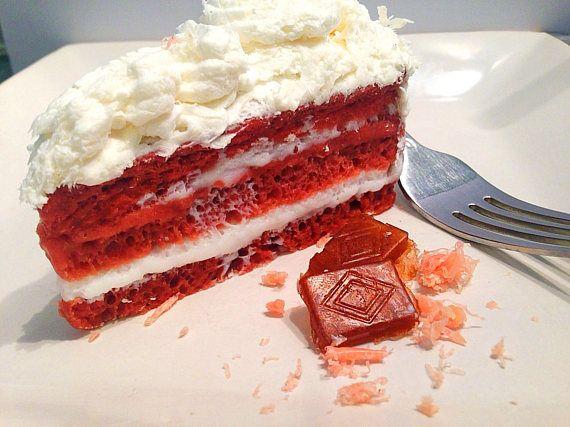 Red Velvet Cake Soap Chocolate Soap Novelty Soap Slice of Cake