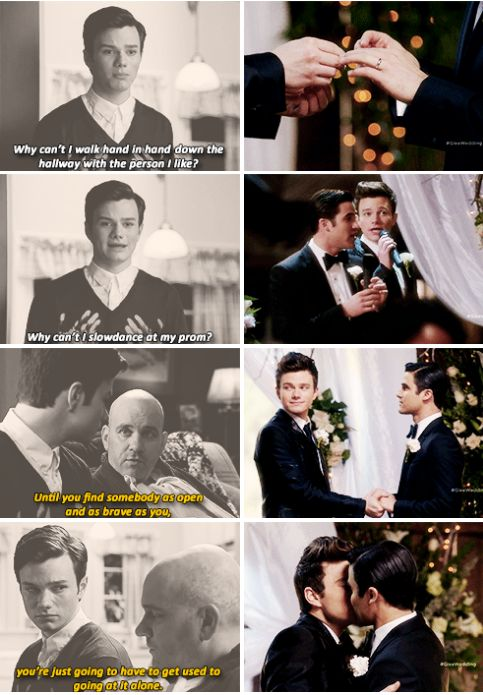 Kurt + Blaine. I've been wanting to make something like this, but the first two boxes on the right would be kurt and Blaine after regionals in On My Way holding hands, and the second would be them in Prom Queen dancing