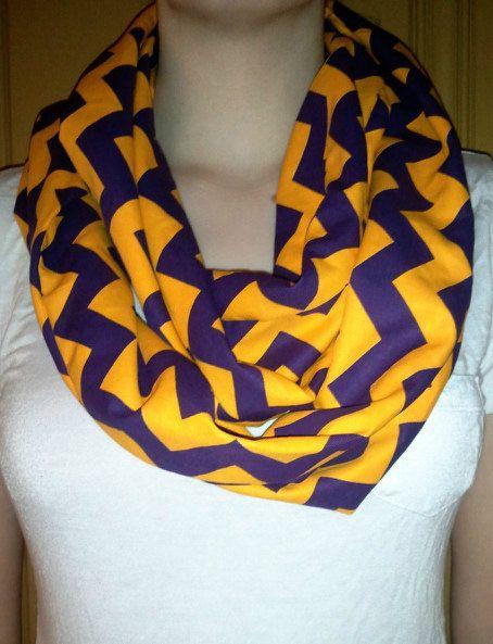 $18 Purple & Gold Infinity Scarf - LOVE.  https://www.etsy.com/listing/114088487/purple-gold-chevron-infinity-scarf